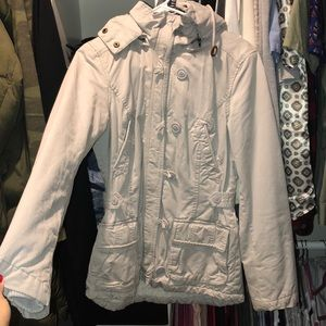H&M grey utility winter coat/jacket with buttons